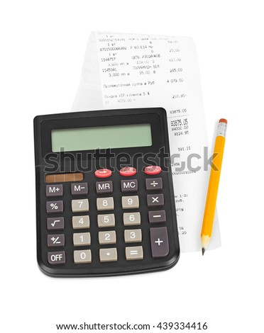 Check and calculator isolated on white background - stock photo