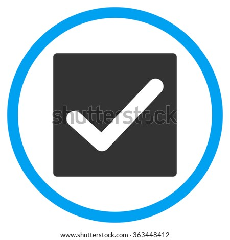 Check Box glyph icon. Style is bicolor flat symbol, blue and gray colors, rounded angles, white background. - stock photo