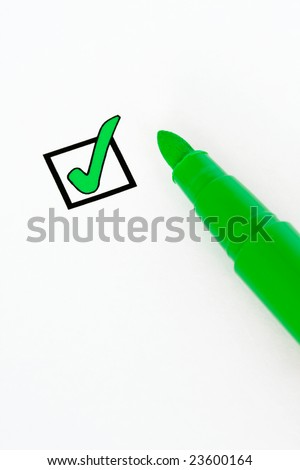 Check-box ticked with a green felt pen