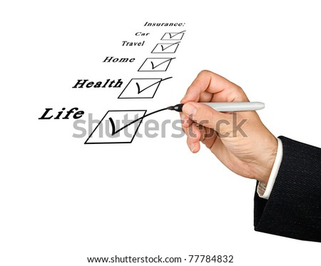 Check boxes of insurance - stock photo