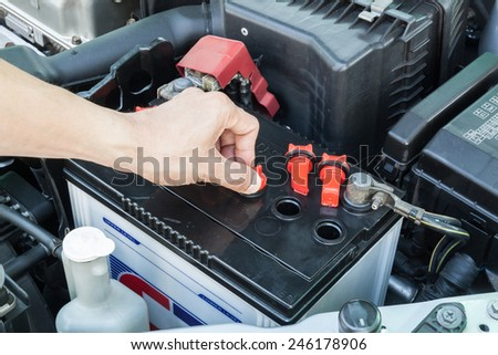 check car battery - stock photo