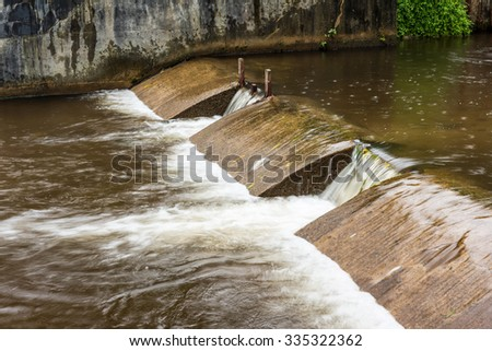 check dam for water in the lake - stock photo