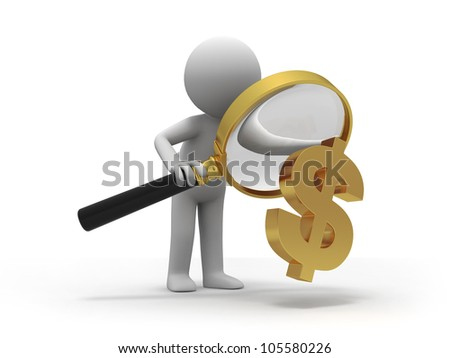 check dollars/A person with a magnifying glass to check dollars - stock photo