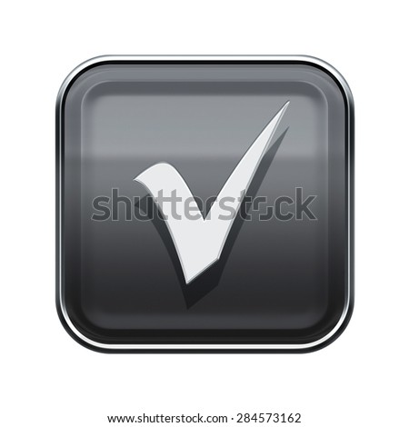 check icon glossy grey, isolated on white background - stock photo
