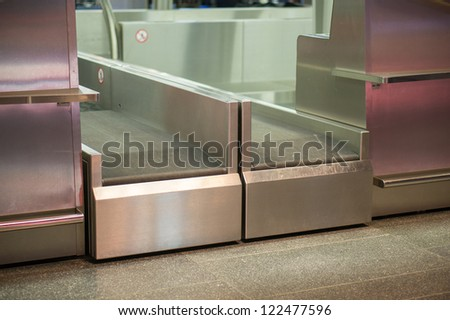 Check in and luggage accept terminal in airport - stock photo