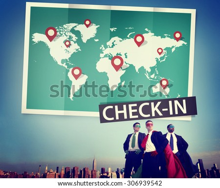 Check In Cartography Location Spot Travel World Global Concept - stock photo