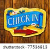 Check in letter on wood board on wood texture background - stock photo