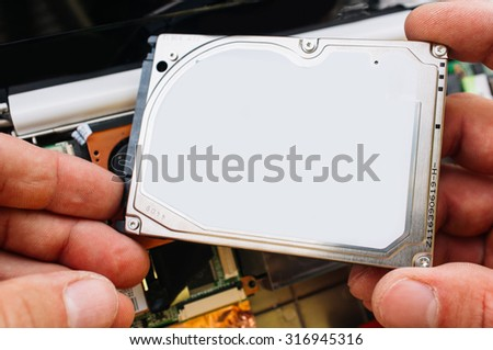 Check, installation and service of hdd in the laptop (pc, computer). Guarantee professional service - stock photo