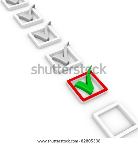 check list and green check mark - stock photo