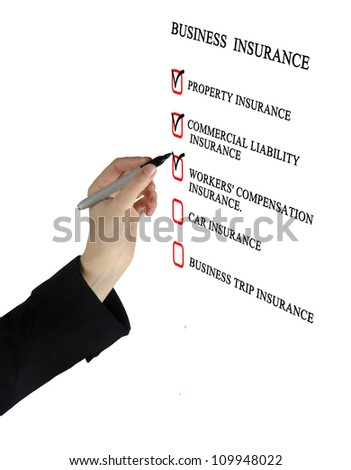 Check list for business insurance - stock photo