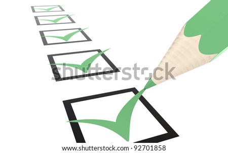 Check list. Green, Eco Edition. Shallow Depth of Field - stock photo