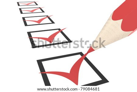 Check list. Red - stock photo