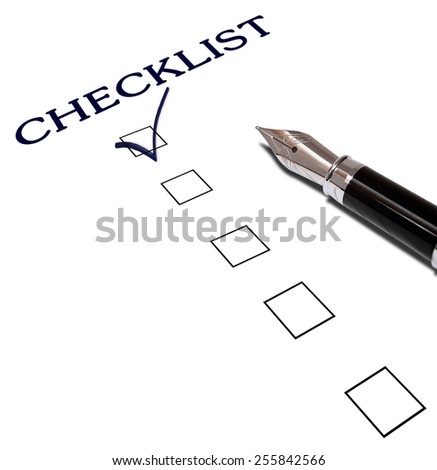 check list with a ticked box with black pen - stock photo