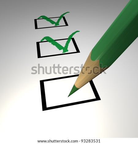 Check list with green pencil - stock photo