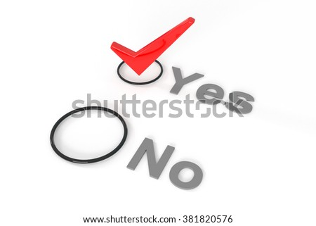 Check list with red choice mark, 3d illustration - stock photo
