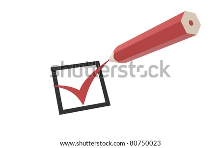 Check mark and a Red Pencil - stock photo