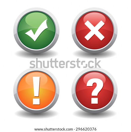 check mark cancel exclamation and question mark icon set