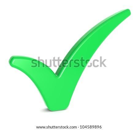 Check Mark. Green Check Mark on Whitee background. - stock photo