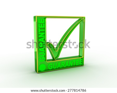 Check  mark icon in rectangle with GUARANTEE word - stock photo