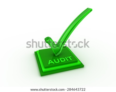 Check  mark icon on rectangles with AUDIT word - stock photo