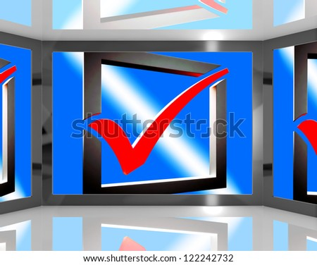 Check Mark On Screen Showing Accepted Merchandise Or Correct Selection - stock photo