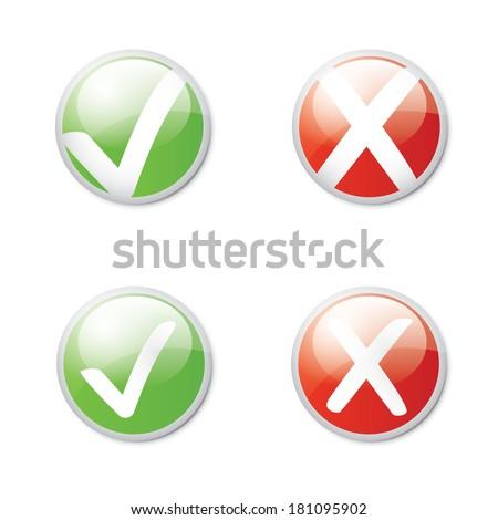 Check mark round illustration (rasterized version). - stock photo