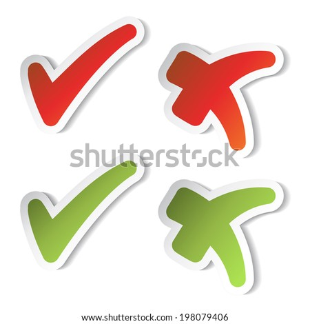 check mark stickers, yes and no buttons, red, green - stock photo
