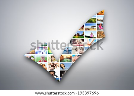 Check mark, tick design element made of pictures, photographs of people, animals and places. Conceptual background