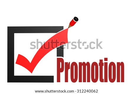 Check mark with promotion word image with hi-res rendered artwork that could be used for any graphic design. - stock photo