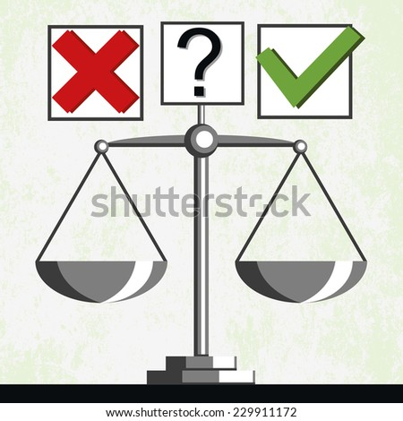 Check marks and scales, comparison of results of voting - stock photo