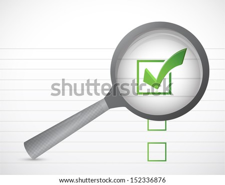 check marks list and magnify illustration design over a white background - stock photo