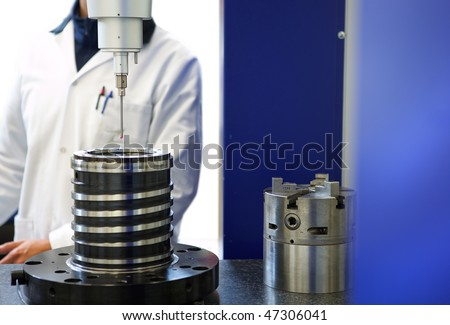 Check measurement of blank in attachment by sensing head - stock photo