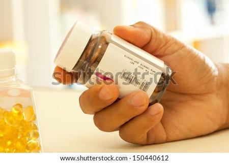 check medicine label - stock photo