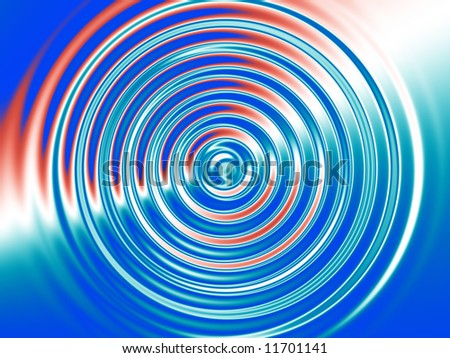Check out this fractal background of concentric rings over a red, white and blue background. - stock photo