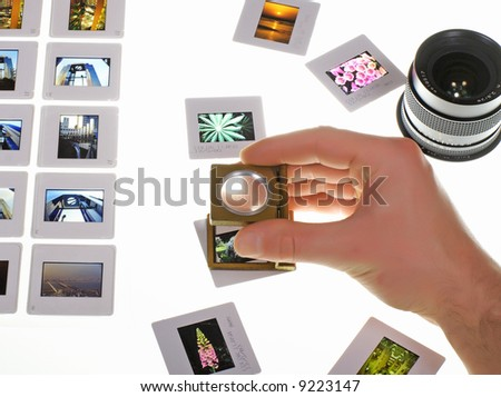 check slide quality - stock photo