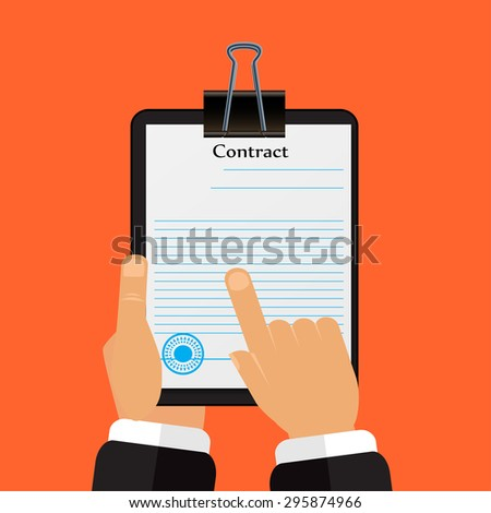 Check the contract his hands in a flat style - stock photo