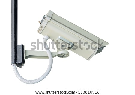 Check the movement of the traffic cameras. isolated on white with clipping path. - stock photo