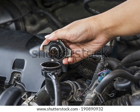 Check the radiator car for car care. - stock photo
