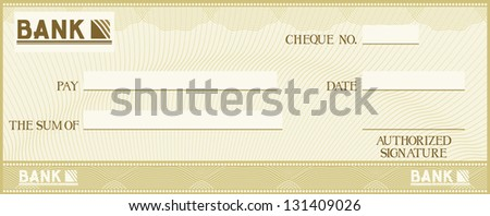 check with space for your own text (bank cheque, bank cheque blank for your business, blank check, green business check) - stock photo