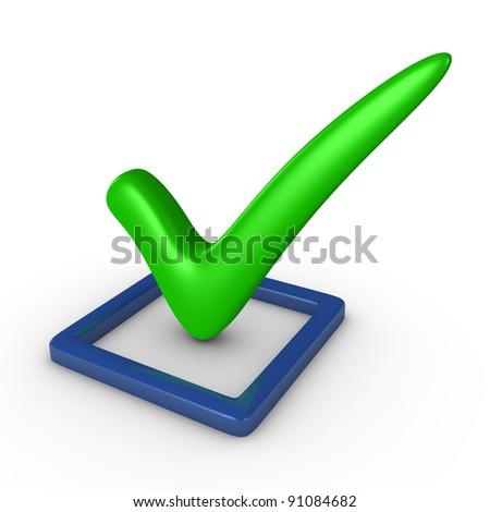 Checkbox with a checkmark - stock photo