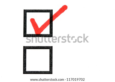 checkboxes with a tick - stock photo