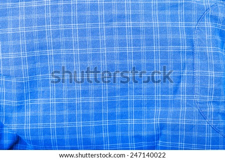 checked blue shirt background - stock photo