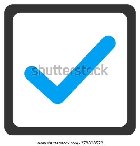Checked checkbox icon from Business Bicolor Set. This isolated flat symbol uses modern corporation light blue and gray colors. - stock photo