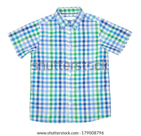 Checked colored t-shirt for boy isolated with clipping path over white background - stock photo