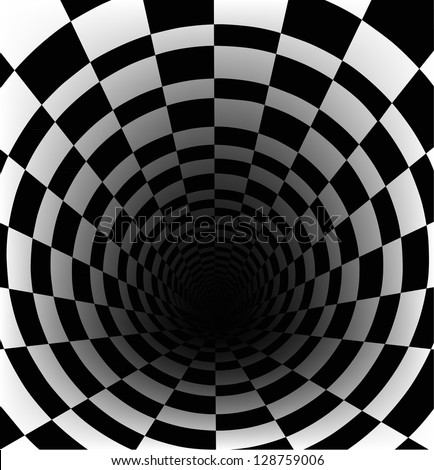 Checkerboard background with perspective effect - stock photo