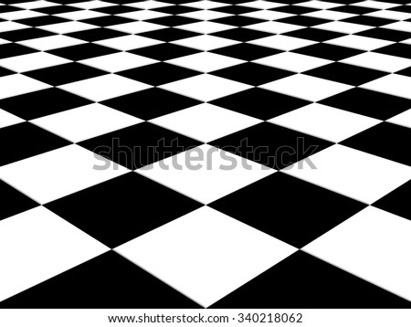 Checkered background floor pattern in perspective with a black and white geometric design - stock photo
