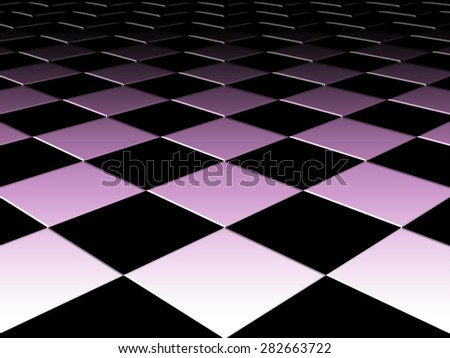 Checkered background floor pattern in perspective with an elevated black and white and pink geometric design - stock photo