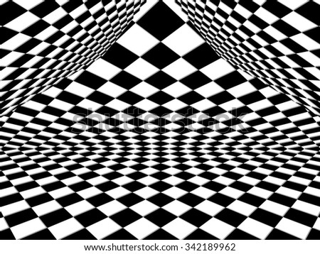 Checkered background pattern in perspective with a black and white geometric design - stock photo