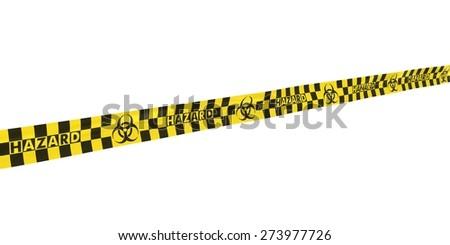 Checkered Biohazard Symbol Hazard Tape Line at Angle - stock photo