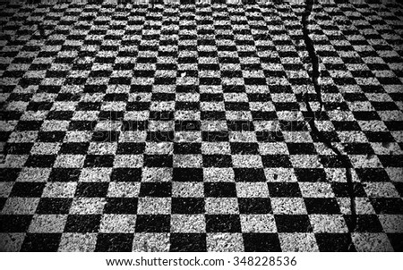 Checkered Black and white on road , background - stock photo